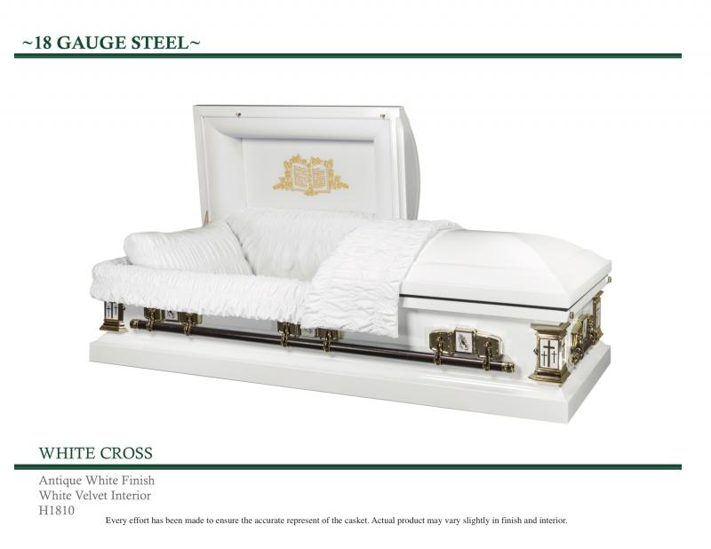 White casket with cross on exterior corners Praying hands on front sides, Bible