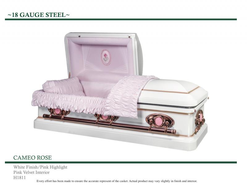 White casket with pink highlights.  Pink Cameos on outside