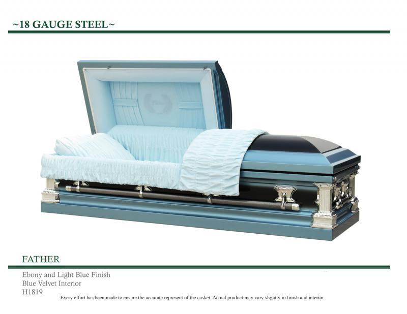 Light Blue Casket with Father on front panel