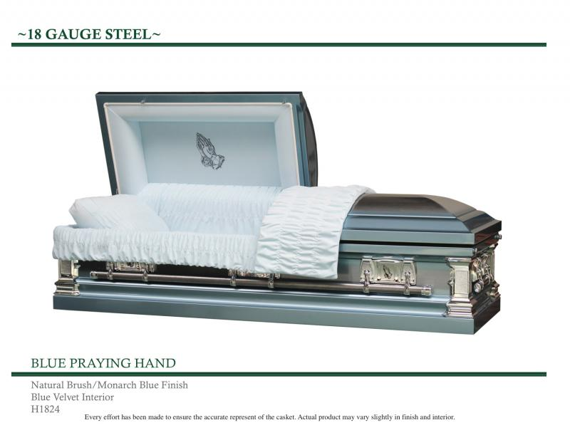 Monarch Blue Casket with praying hands on front panel