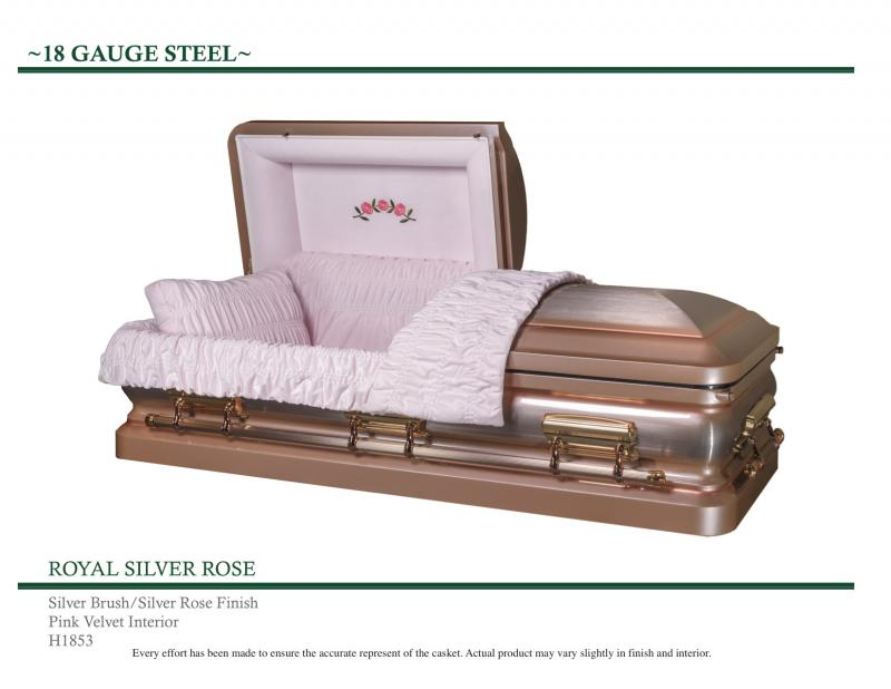 Royal Silver Rose Casket Silver brush  with Silver Rose Pink Finish