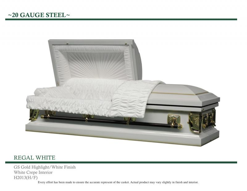 Regal White casket with gold highlights