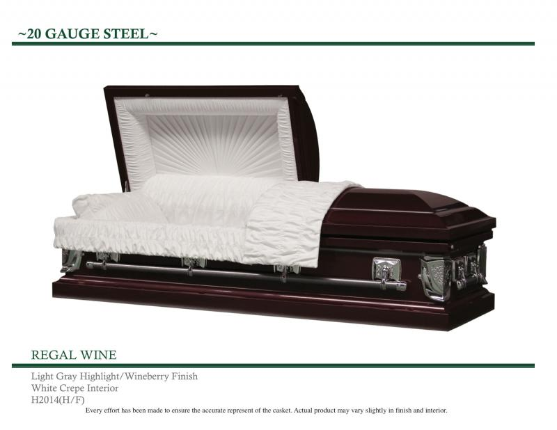 Regal Wine Casket Wineberry Finish with Light Gray Highlights