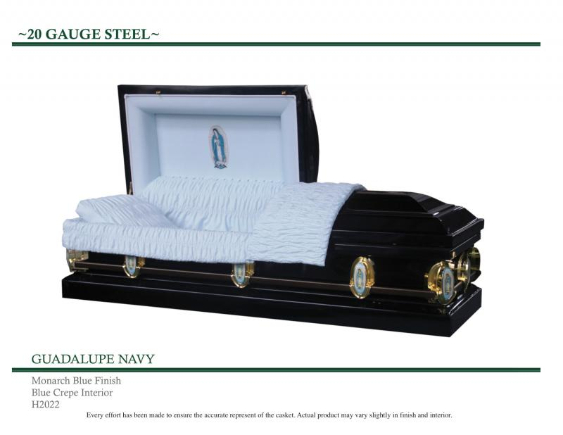 Navy Guadalupe Casket Virgin of Guadalupe on panel and sides