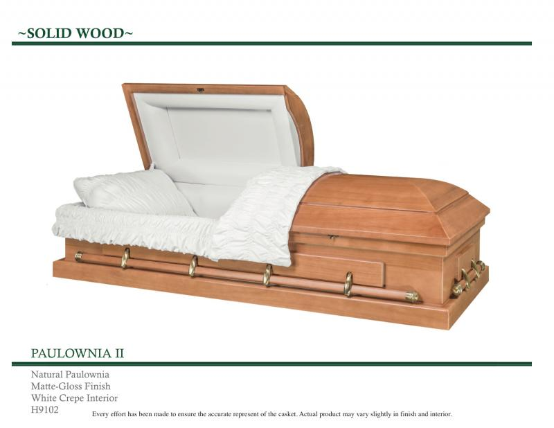 Natural Paulownia Solid Wood Casket with Matte Gloss Finish