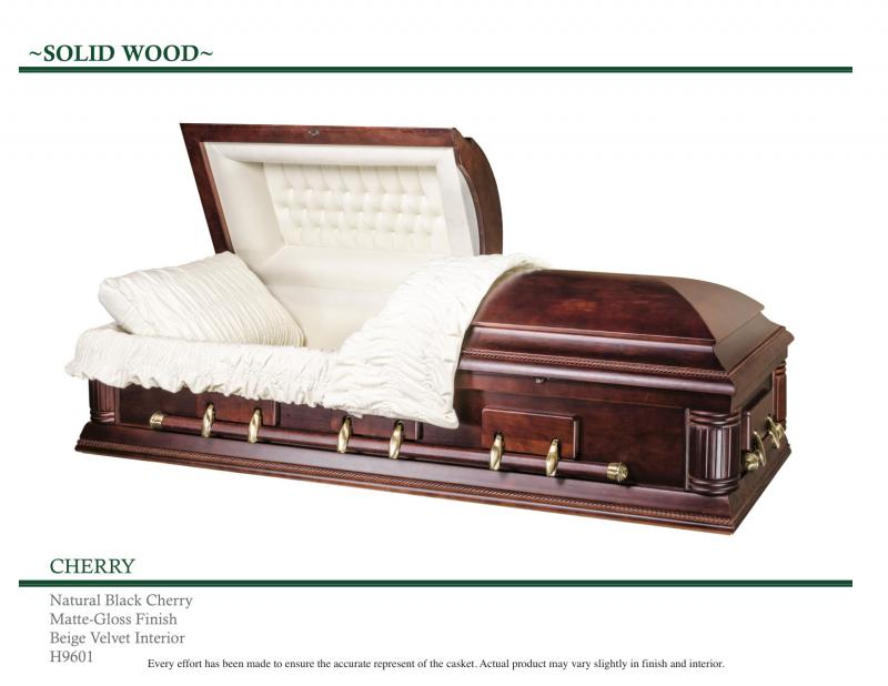 Solid Wood Cherry Casket  Matte Gloss Finish