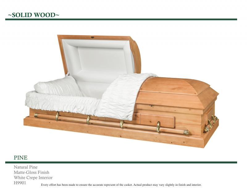 Solid Natural Pine Wood Casket