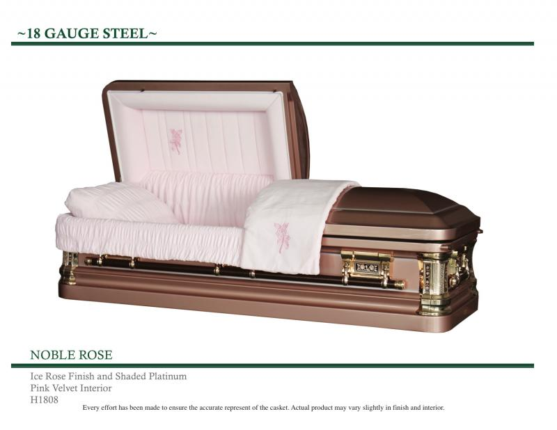 Ice Rose Casket with Shaded Platinum Accents