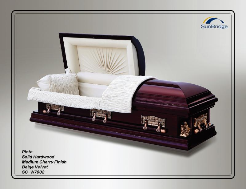 solid hardwood Pieta casket Medium Cherry Finish